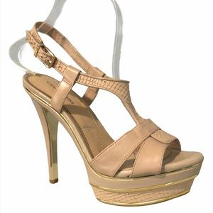 Gianni Bini Nude Platform Sandal Heels